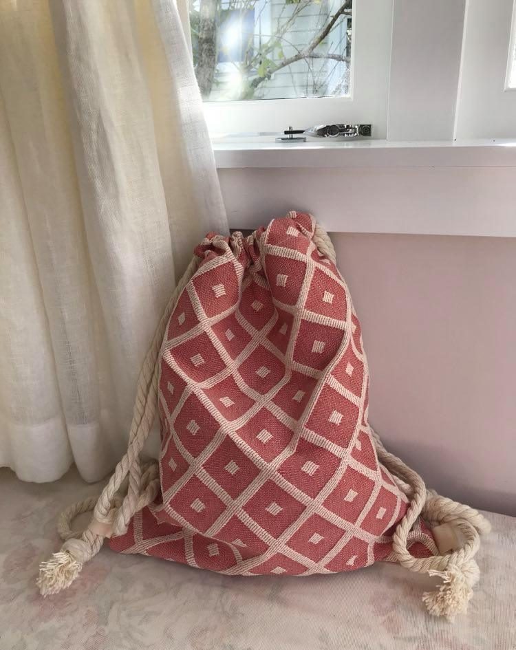 Vintage upholstery with pink silk back - $45