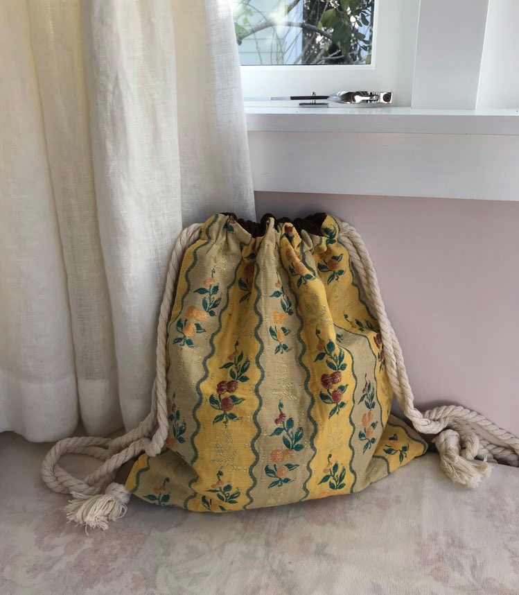Yellow floral upholstery with brown velvet back - $45 SOLD