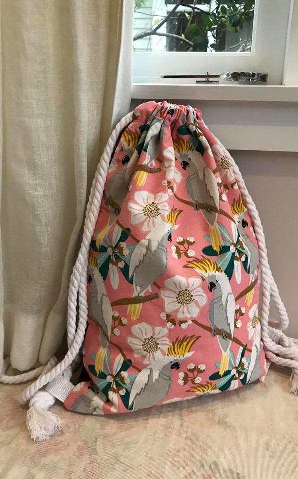 Cotton drill pink parrots- $39