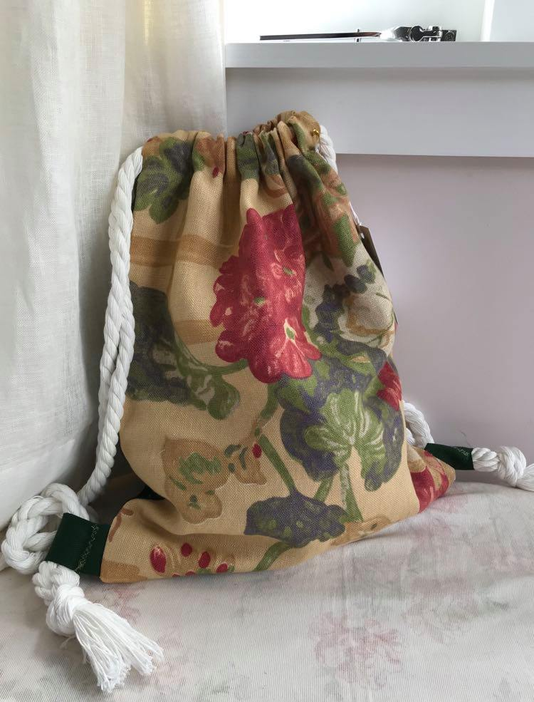 'Washington' Upholstery mustard floral with green back $45